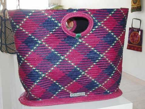 Large handbag made from dyed straw mat; made in Tanzania. Photograph courtesy Lesley Ann Noel