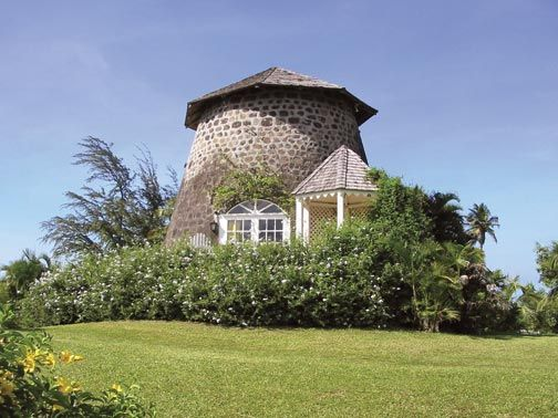 The sugar cane windmill at Rawlins Plantation Inn, now the honeymoon suite. Fairview Estate. Photograph courtesy the Estate Houses
