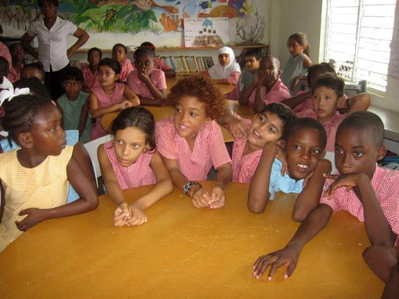 Students of St Nicholas Primary School participate in a sea-turtle awareness and education programme, Mt Marie, Tobago. Photograph courtesy G Lalsingh/SOS Tobago