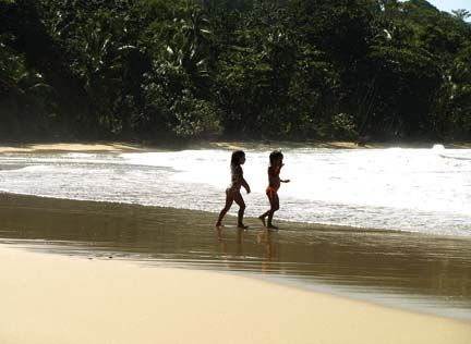 Playing in the surf at Punta Uva, south of Puerto Viejo. Photograph by Matthew Barker