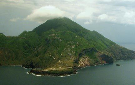 A view of Saba from the north-east, from the plane returning to St Maarten. Photograph by Nicholas Laughlin