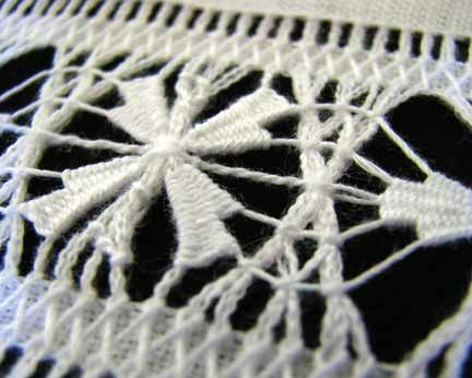 Close-up of an example of Saba lace, made by Imelda Peterson of Windwardside. Photograph by Nicholas Laughlin