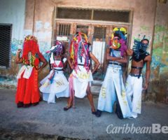 """""""Misfit"""" masqueraders in the Vulgar Fraction band. Photograph by Maria Nunes"""