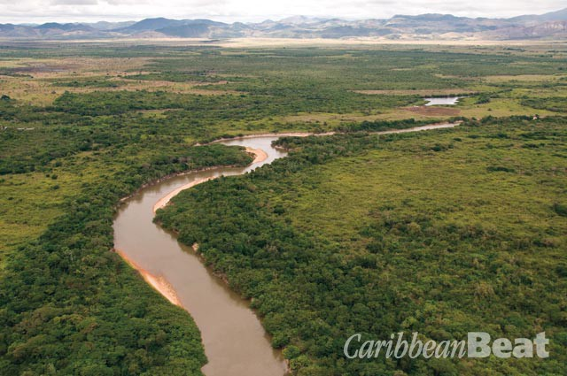 The Rupununi River winds its way across the savanna to join the Essequibo at Apoteri. Photograph by Graham Watkins