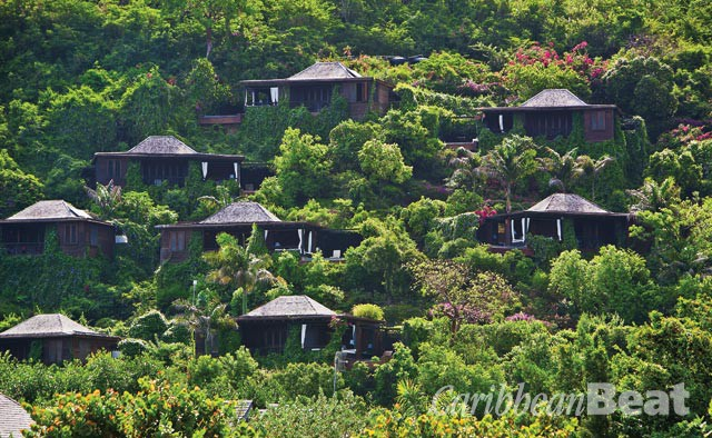 Hermitage Bay suites are actually individual bungalows, scattered across a hillside. Photograph courtesy Hermitage Bay