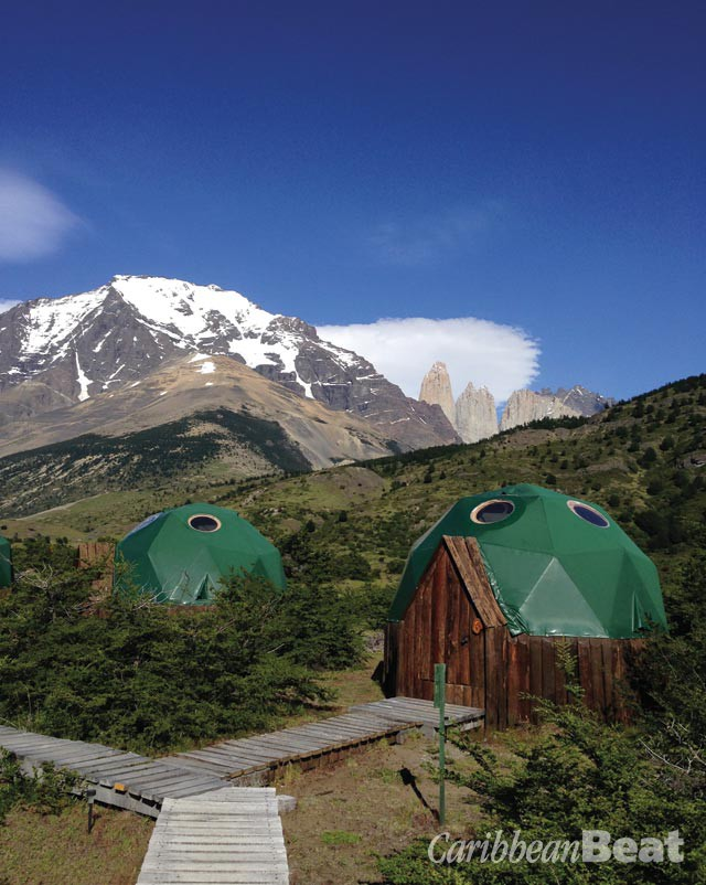 Guest quarters at the Torres del Paine base camp are in small geodesic domes. Photograph by Georgia Popplewell