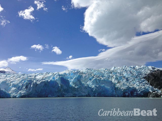 The blue ice of Grey Glacier. Photograph by Georgia Popplewell