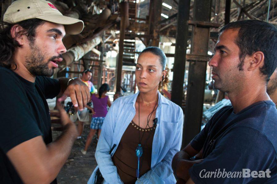Carlos Lechuga on set with Geraldine Léon, Melaza's first assistant director, and Ernesto Calzado, director of photography. Photograph courtesy Trinidad+Tobago Film Festival