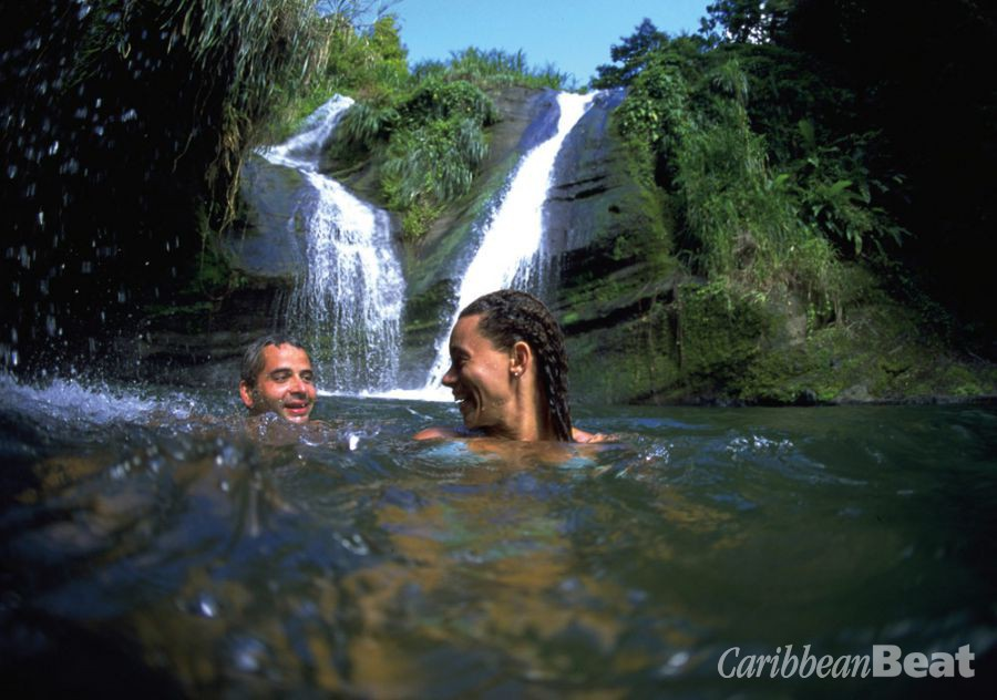 Swimming in the pool at Concord Falls. Photograph courtesy Grenada Tourism Authority