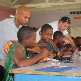 Students participate in a robotics workshop. Photograph by Tracy Mamoun