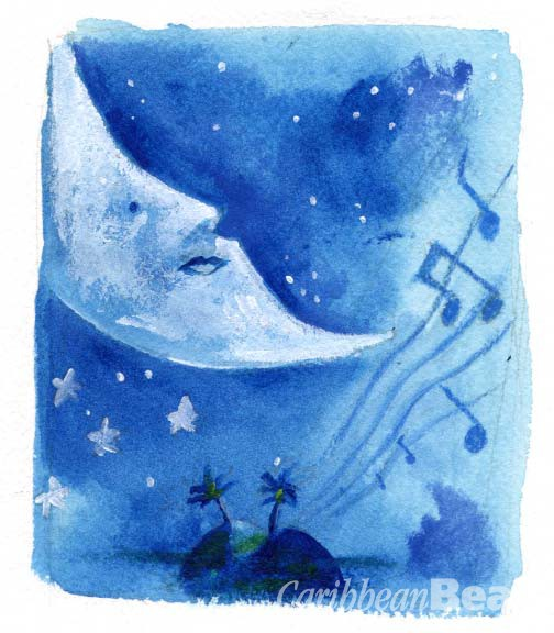 Moon over Barbados. Illustration by Marlon Griffith