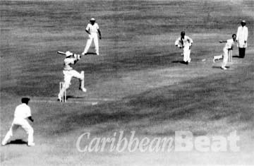 Jeffrey Stollmeyer batting in India, Courtesy The Estate of Jeffrey Stollmeyer