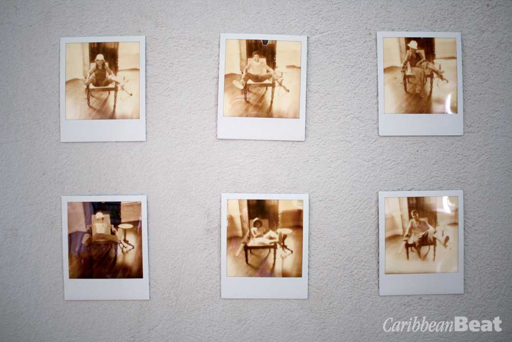 Photographs documenting Belle's participatory performance work The Planter's Chair (2011). Photography courtesy La Vaughn Belle