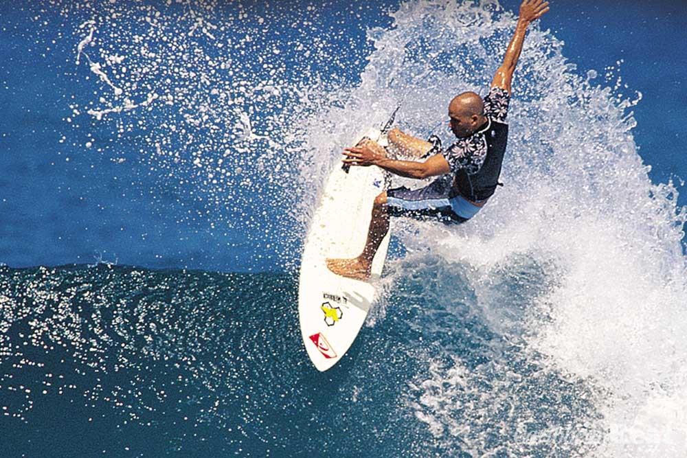"World champion Kelly Slater testing ""the Soup"". Photograph courtesy Alan Burke"
