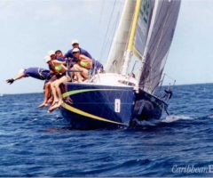 High jinks on the high seas at the 2002 Angostura Tobago sail week. Photograph by David Wears