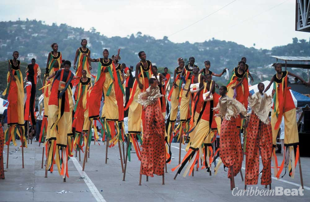 "At Carnival, moko jumbies transform the Queen's Park Savannah stage into their own ""big yard"". Photograph by Stefan Falke"