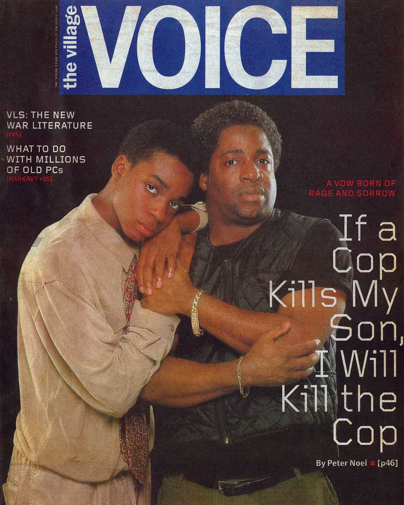 Noel and son Peter  Jr on an April 2000 Voice cover. Photograph by Robin Holland/ Courtesy The Village Voice