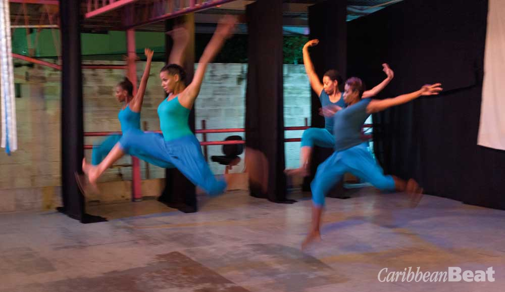 A performance by Trinidadian choreographer Sonja Dumas's dance company, Continuum. Photograph by Mark Lyndersay