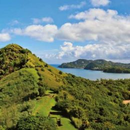 The view from Pigeon Island across the causeway to Becune Point — current home of Nobel laureate Derek Walcott. Photograph ©ARGALIS/ISTOCK.COM