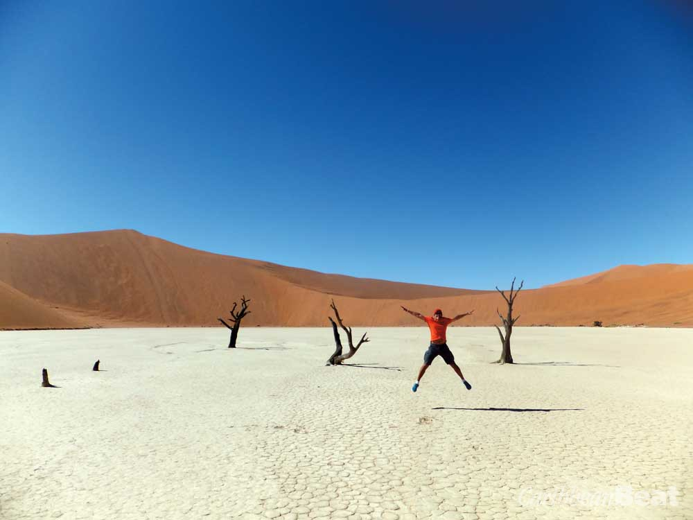 The author celebrates his conquest of Big Daddy on the white clay pan of Dead Vlei. Photograph by Ishwar Persad