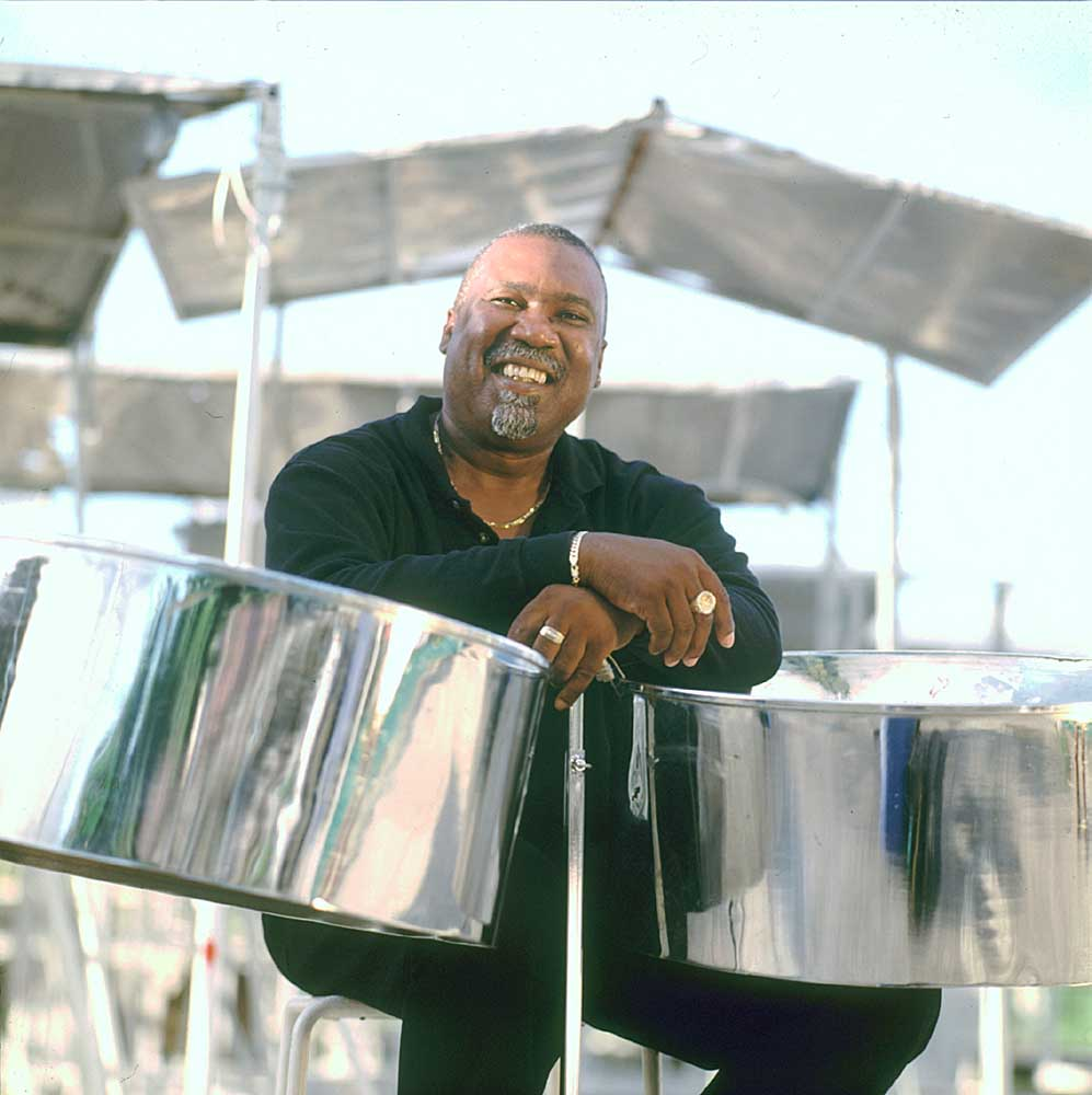 "Len ""Boogsie"" Sharpe, steelband maestro. Photograph by Abigail Hadeed"