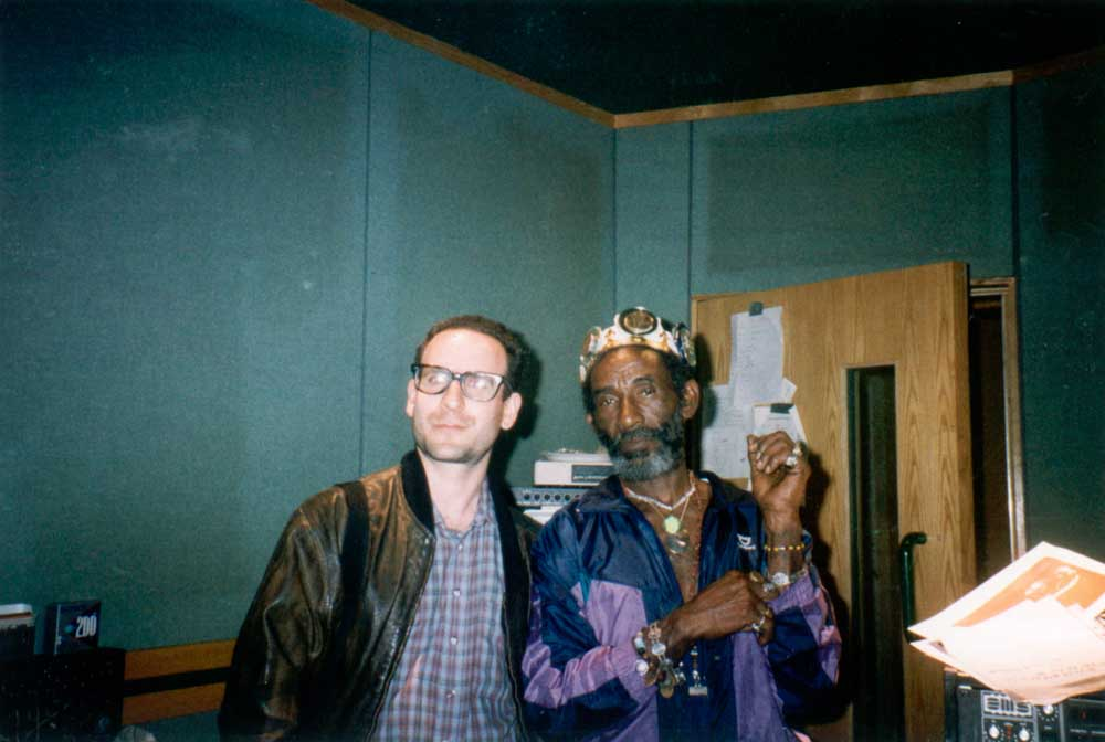Lee Perry (right) with author David Katz. Photograph by Maggie Apostolu