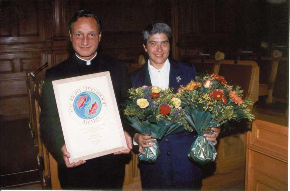 Fr Gerry Pantin with Sr Ruth Montrichard. Photograph by Roberta Pankin, courtesy SERVOL