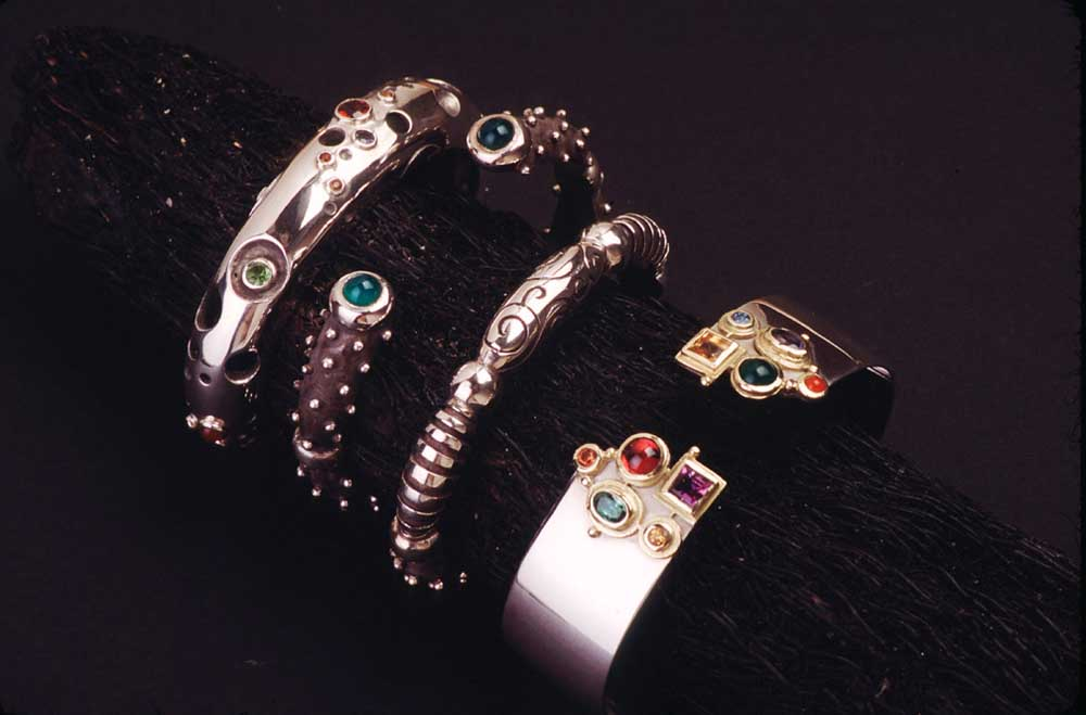 Bracelets (sterling silver with semi-precious stones). Photograph by Mark Lyndersay