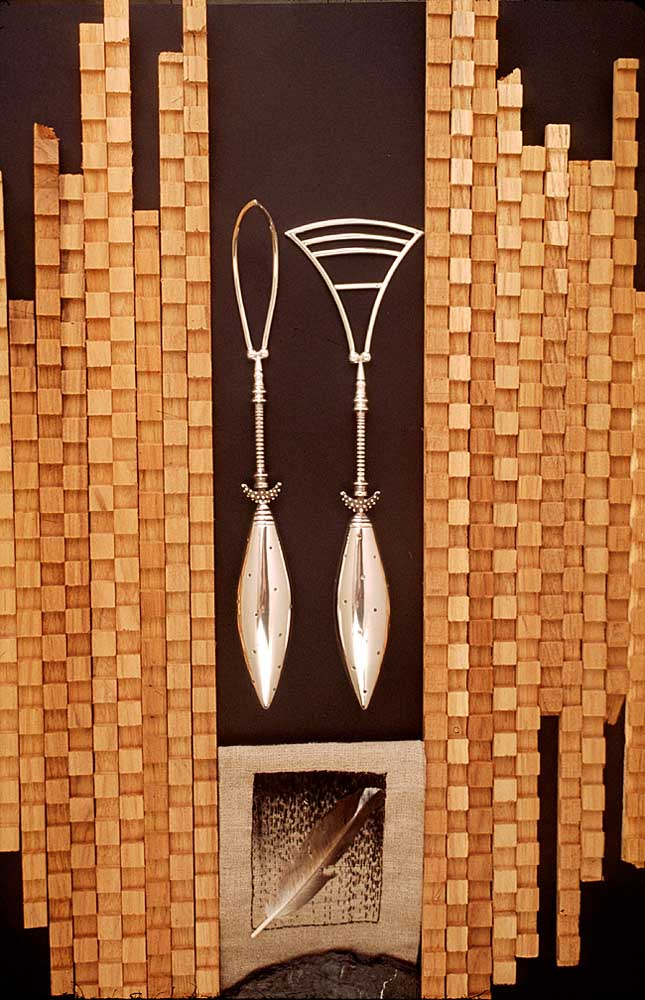 Salad servers (sterling silver surrounded by wooden strips). Photograph by Mark Lyndersay
