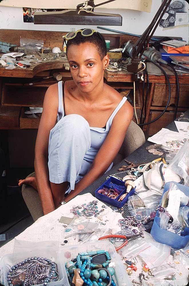 Jasmine in her studio. Photograph by Mark Lyndersay