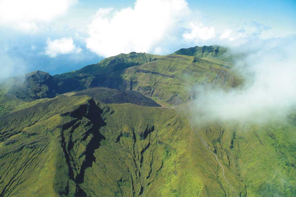 The crater of the Soufrière volcano. Photograph by Tony Da Silva