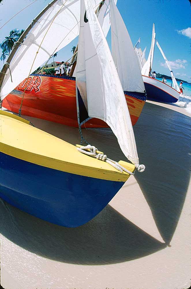 Between races at a work boat regatta. Photograph by Onne Van Der Wal/LaSource Grenada Sailing Festival