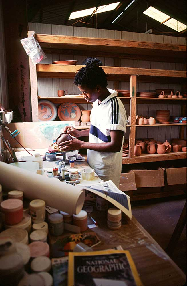 Artisan at work at the Grenada Clay Works. Photograph by Chris Huxley