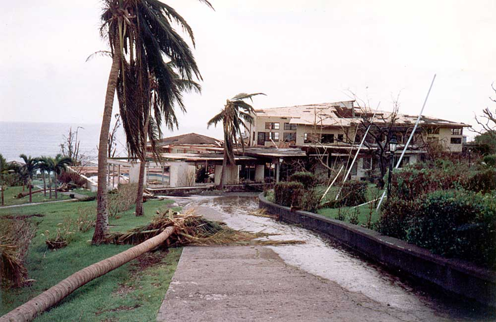 Vue Point Hotel, Montserrat, after Hurricane Hugo in September 1989. Photograph by David Lee