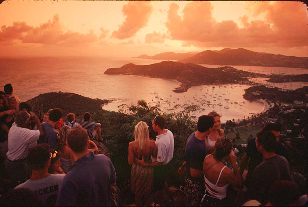 Sunset at Shirley Heights. Photograph by Sean Drakes/ Blue Mango