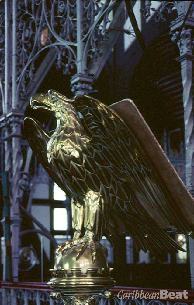 Golden eagle lectern in St George's Cathedral. Photograph by Roxan Kinas