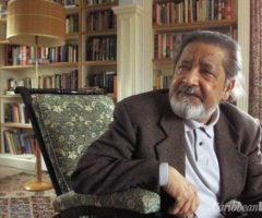 """Author V. S. Naipaul at his home near Salisbury, England, on Thursday 11 October 2001 after it was announced that he had been awarded the 2001 Nobel Prize for Literature. The 69-year-old Trinidadian-born writer was awarded the Nobel for """"having united perceptive narrative and incorruptible scrutiny in works that compel us to see the presence of suppressed histories"""" according to the Nobel Academy. Photograph by AP/Chris Ison"""