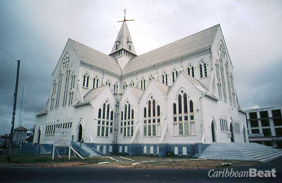 St George's Cathedral, the mother church of the Anglican Diocese, one of the world's tallest free-standing wooden buildings. Photograph courtesy the Tourism and Hospitality Association of Guyana