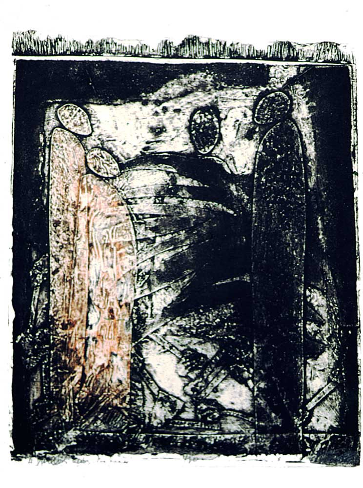 From The Dwellers series, 1996; mixed media on handmade paper; private collection. Photograph by Petrine Archer-Straw