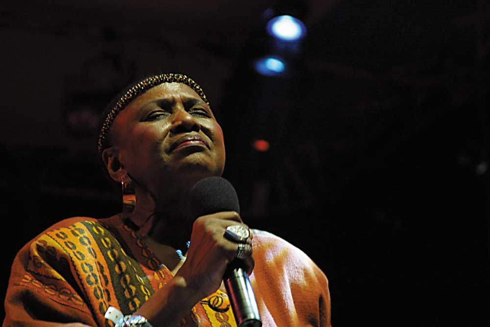 Miriam Makeba at the St Lucia Jazz Festival. Photograph by Chris Huxley
