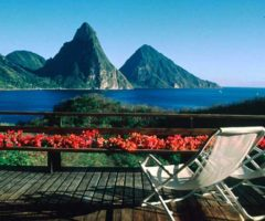 The Pitons from Anse Chastenet. Photograph by Sean Drakes/Blue Mango