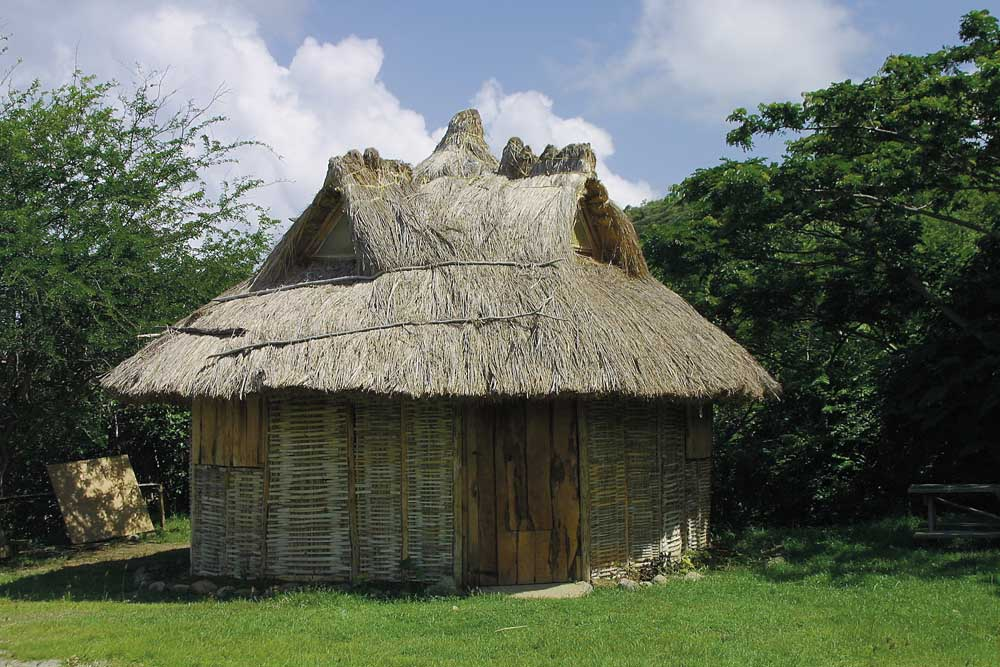 Amerindian hut at entrance to Fond d'Or. Photograph by Chris Huxley