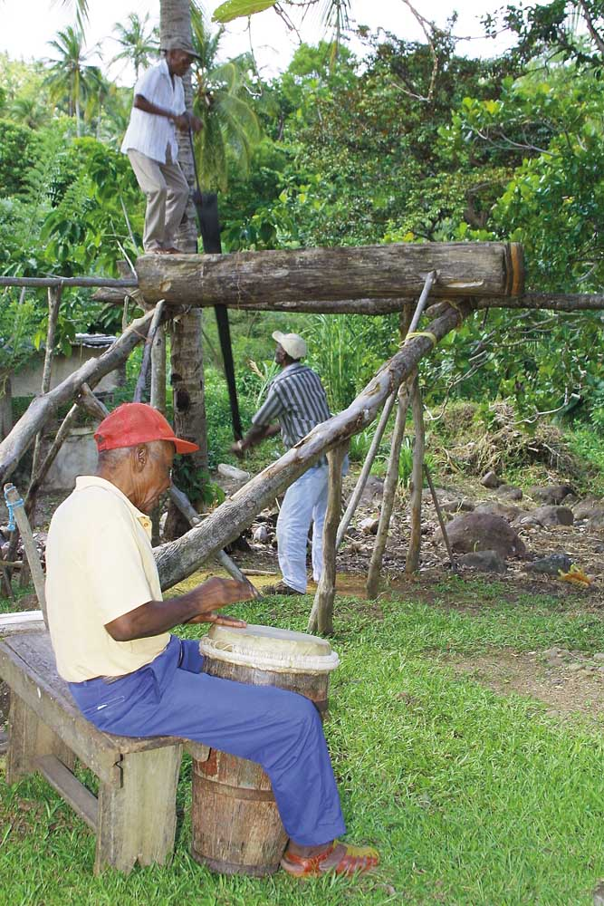 Traditional logging to the beat of the drum. Photograph by Chris Huxley