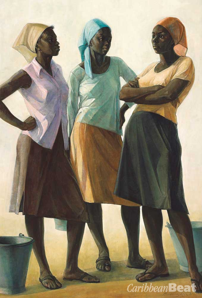 Detail of Conversation (1981), by Barrington Watson; oil on canvas, 127 x 101 cm. Courtesy The National Gallery of Jamaica