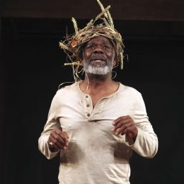 Joseph Marcell in the lead role of the Globe on Tour production of King Lear. Photograph by Ellie Kurttz