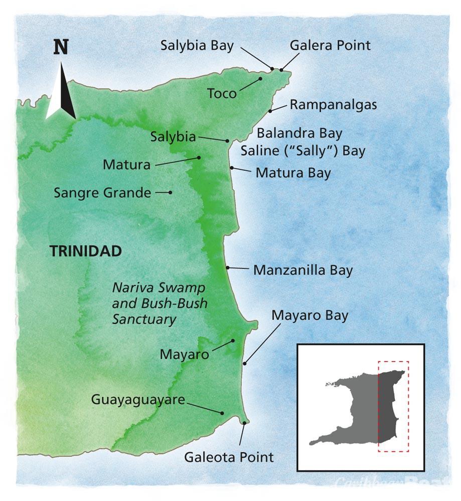 Trinidad map – east coast