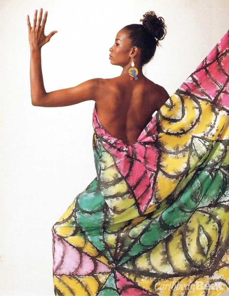 """Ras Anansi"": handpainted fabric by Christopher Pinheiro. Photograph by Noel Norton, courtesy Maclean Publishing."