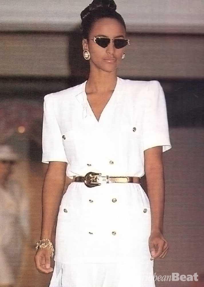 Escada dress with gold belt (£678)
