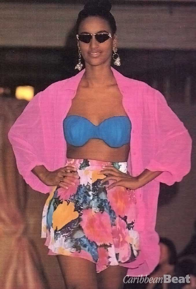 Gottex blue bikini, with pink chiffon shirt and floral shorts (£285)
