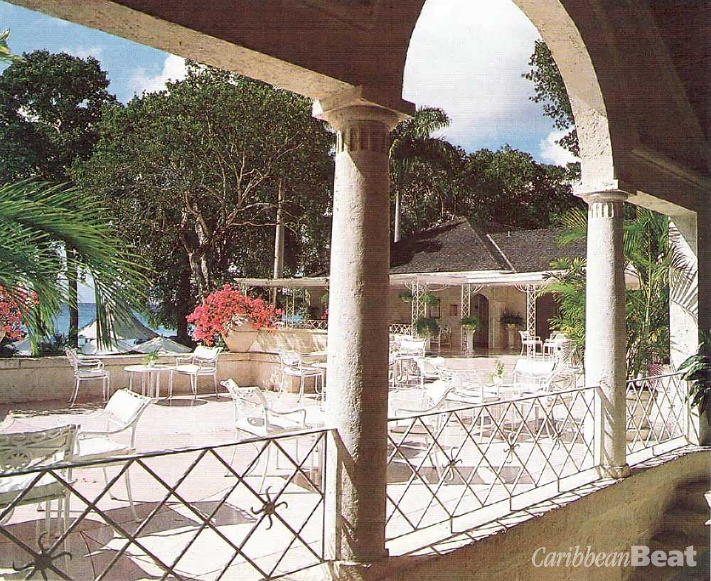 Sandy Lane's famous arch is visible from the top terrace, with its terrazzo floor in scalloped shell design